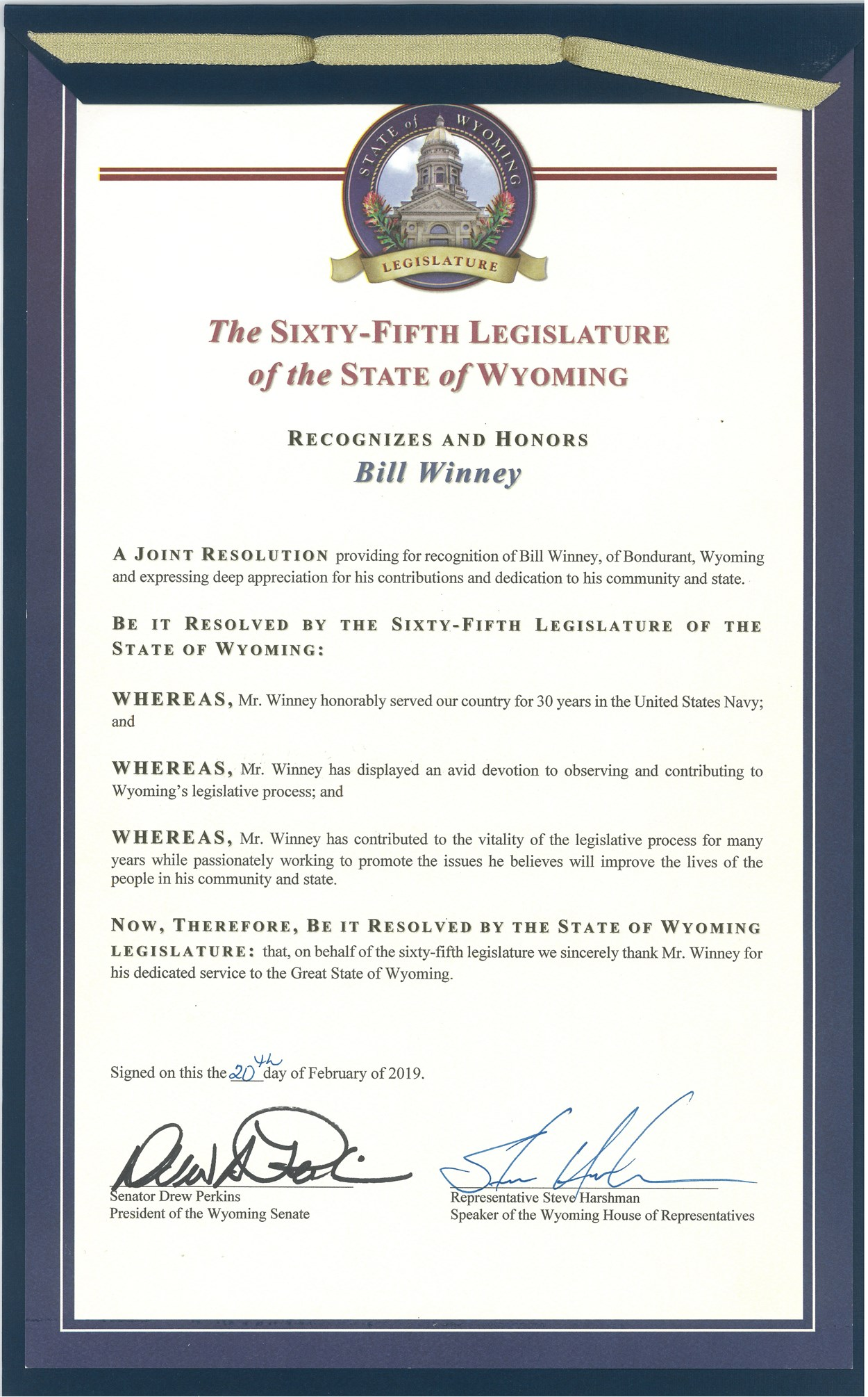 65th Legislature Resolution